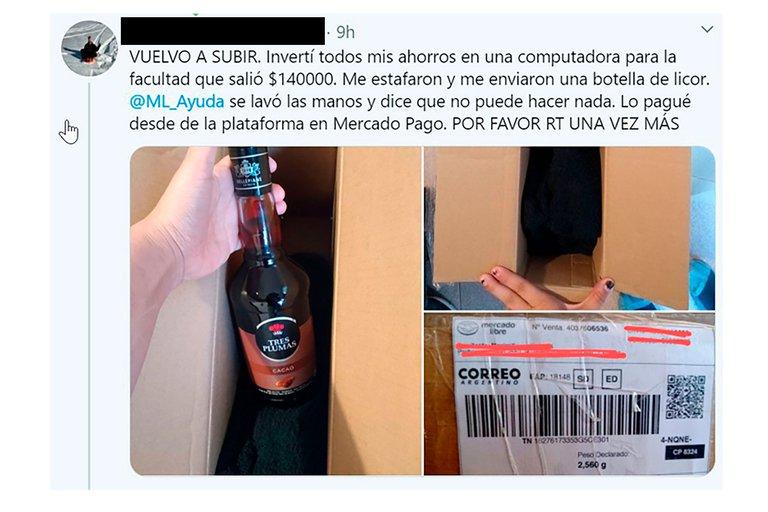 Insólito: una estudiante pidió una laptop Mac de $140 mil por Mercado Libre y le llegó una botella de licor
