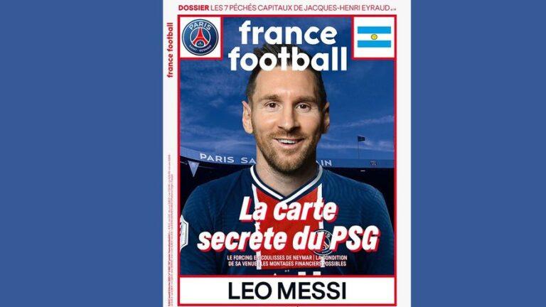 Messi vestido con la camiseta del PSG: la portada de France Football que alimenta los rumores de su traspaso